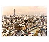 120x80cm Leinwandbild auf Keilrahmen Paris Stadt Häuser Seine Eiffelturm Wandbild auf Leinwand als Panorama