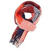 Yinew Damen Kariertes Schal Damen Herbst Winter Karo Tartan Fransen Lange Weich Wraps Stola-Schal,Rot blau,Size