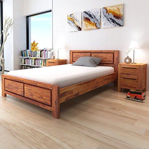 Festnight Solid Wood Bed Frame Double Bed Base for Home Bedroom140 x 200 cm (Brown)