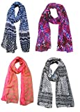 #10: Letz Dezine Printed Poly Cotton Set of four mullticoloured stoles; scarf and stoles for women