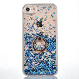 Paillette Coque pour iPhone 5S,Liquide Coque Bling Flash Etui Plastic Case,Hard Etui Transparent Flux Diamants Housse Coque,3D Protecteur Kickstand Case Cover Coquille pour Apple iPhone 5S/5C/SE,Bleu