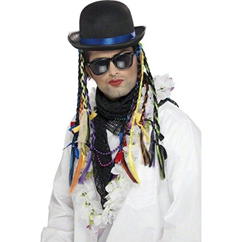 Retro Hut mit bunten Zöpfen bunt 80er Jahre Partyhut George Melone mit Haaren Chamäleon Faschingshut Karma Bowler -