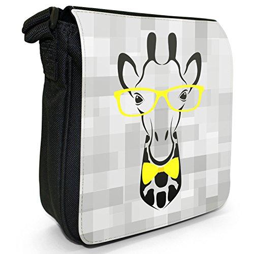 Hipster animali con fiocco, Occhiali e sacchetto di tela borsa a tracolla nero–taglia S Hipster Giraffe With Bow Tie
