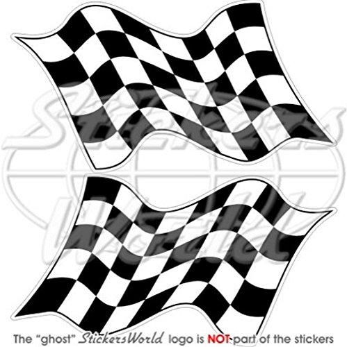 d Racing Win Waving Flag 12,7cm (125mm) Bumper Sticker, Aufkleber Vinyl X2 (Checkered Race Flags)