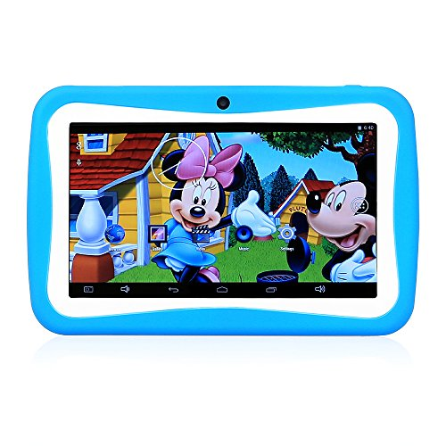 "LeaningTech 512M+8GB 7"" Android 5.1 Kinder Lern/Spiel Tablet PC Quad core Dual Kamera WiFi 1080P HD Blau"