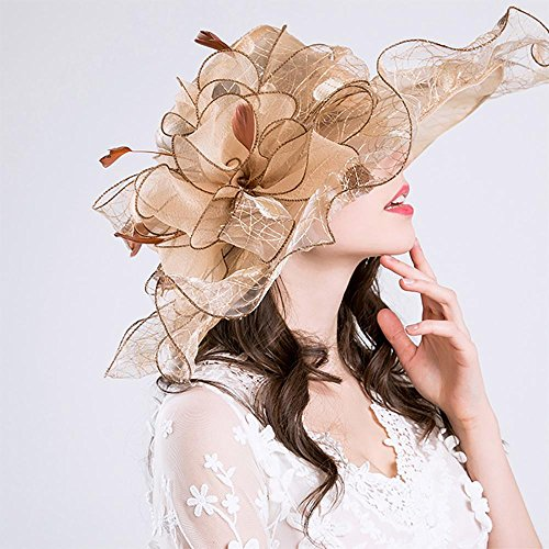 Aolvo Damen Organza Kirche Derby Fascinator Hat Kentucky Tea Party Hochzeit Gap UPF 50 Übergroße Sun Hat Floppy faltbar breiter Hutrand Polka Dot Feder Fancy Beach Cap, 2018 Sommer Neu gold