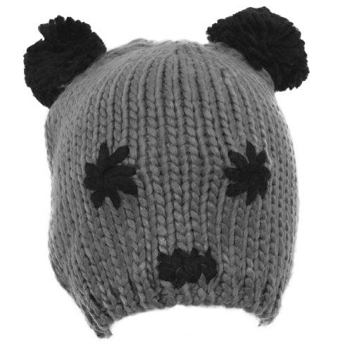 Damen/Frauen Winter Beanie Mütze mit Panda Gesicht Muster (One Size) (Grau)