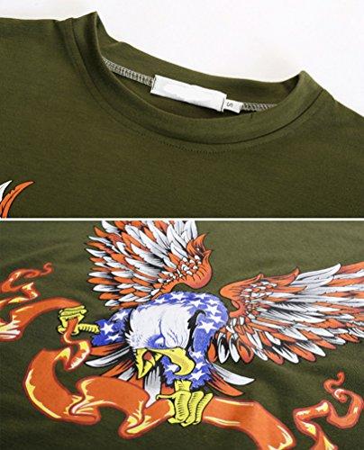 ZhiYuanAN Herren Große Größe T-Shirt Beiläufiges Druck Kurzschluss Hülsen T-Shirt Sommer Loses Rundhalsausschnitt T-Stück Mit Vogel-Muster Armee Grün