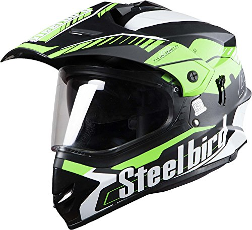 STEELBIRD SB-42 AIRBORNE MOTOCROSS HELMET MATT FINISH WITH PLAIN VISOR (LARGE 600 MM, MATT BLACK WITH GREEN)
