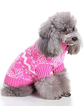 Weant Christmas Fashion Comfortable Pet Clothes Festival Dress Sweater Knitwear (M, Pink) 1