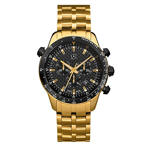 Mercedes Benz Original Herren Armbanduhr Chronograph 'Motorsport' Gold/Carbon