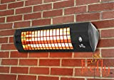 Firefly 1.8kW Wall Mounted Quartz Outdoor Indoor Patio Heater with 3 Power Settings - Black