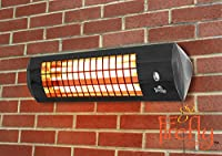 Firefly 1.8kW Wall Mounted Quartz Heater with 3 Power Settings - Black