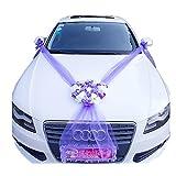 Dayiss Auto Schmuck Braut Paar Rose Deko Dekoration Autoschmuck Hochzeit Car Auto Wedding Deko Girlande PKW (Lila)