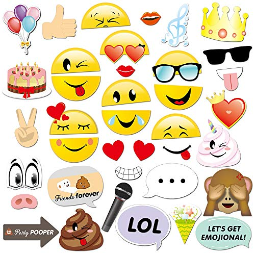 Konsait Emoji Photo Booth Props (38pcs), cumpleaños Cabina de Fotos Accesorios photocall...