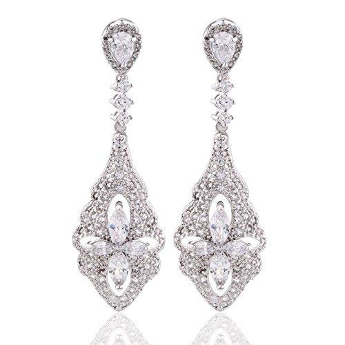 GULICX Art Deco Silber-Ton Blumen Ohrringe Weiße Kristall Zirkonia CZ Chandelier Edle Ohrhänger (Der Braut Anspruchsvolle Kleid Mutter)