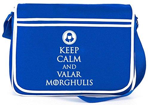 Mantieni La Calma E Valar Morghulis, Borsa A Tracolla Retro Messenger Borsa A Tracolla Blu Royal