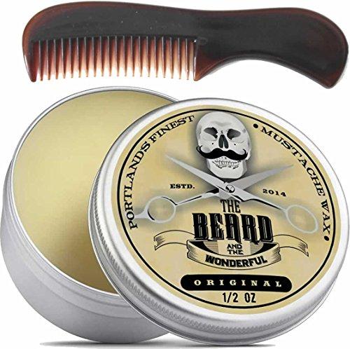 Moustache Wax (15ml Dose) und Mini Bart und Taschenkamm Combo mit dem ultimativen Handbuch Bärte ()
