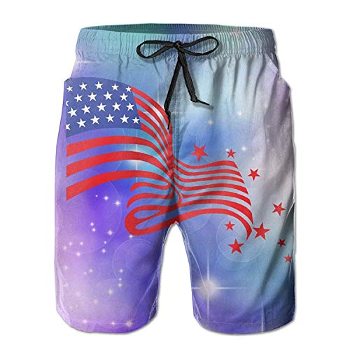525f3dc062 Fashion Men's Beach Pants Beach Shorts Mens 4th of July USA National Flag  and Stars Summer