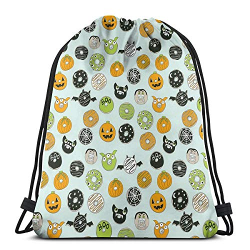 Nicegift Halloween Donut Fall Autumn Food Cute Spooky Scary Drawstring Bag for Women Drawstring Hiking Backpack Gym Bag for Women 17 X 14 Inch