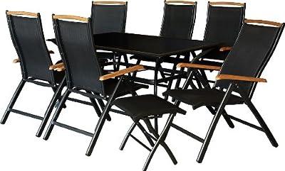 IB-Style - SURABAYA-XXL Premium Gartengarnitur Schwarz / Teakholz | 9-Teilig | Tisch 180 cm | Gartenmöbel Gartengruppe Sitzgruppe Klappstühle Hocker Garten