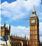 Yirenfeng Die benutzerdefinierten 3D-Wandbilder, Big Ben unter blauem Himmel und weißen Wolken Papel de Parede, Wohnzimmer Sofa TV Wand Schlafzimmer Wand Papier-250X160CM