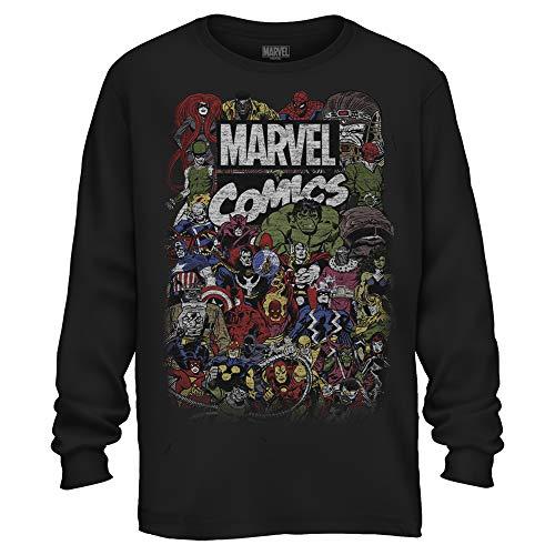 Comic-Logo Thor Hulk Iron Man Avengers Spiderman Daredevil Strange Loki Thanos Herren Langarmshirt - Schwarz - Mittel