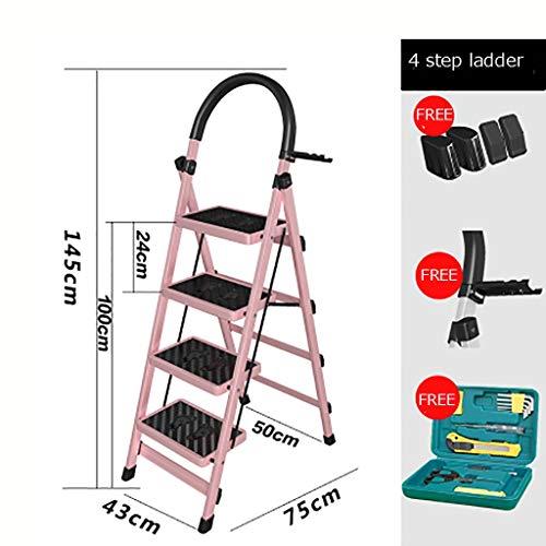 Plegable Escalera,multifunción Escaleras De Mano Antideslizante Pesada Deber Escalera Para El Hogar Cocina Oficina Almacén-rosado 43x75x145cm(17x30x57inch)
