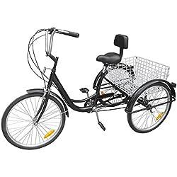 """Ridgeyard triciclo adulto 24 """"6 velocidades bicicleta 3 ruedas adulto con Cesta de la compra(Negro)"""