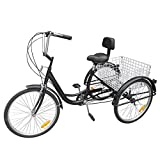 "Paneltech 24"" 6 Speeds Gears 3 Wheel Bicycle for Adults Adult Tricycle Bike"