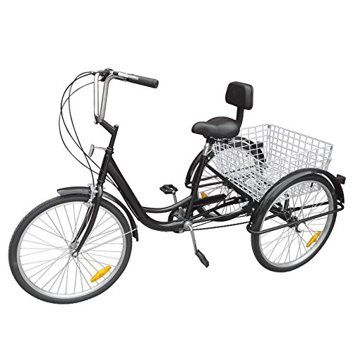 Ridgeyard triciclo adulto 24 '6 velocidades bicicleta 3 ruedas adulto con Cesta de la compra(Negro)
