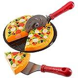 Ultrakidz Johntoy Magic Pizza, Pizza Spielset mit Teller, Pizzaschneider, Pizzaheber und Pizzastücken, 9-teilig
