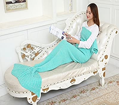 Mermaid Blanket Wool Knitting Mermaid Tail Blanket Winter Children Adult Sofa Blanket - cheap UK light store.