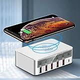 Weishazi 7-in-1 Type C Qi kabelloses Ladegerät 5 x USB QC 3.0 Schnellladefunktion mit LCD Spannung Stromanzeige für iPhone iPad Samsung Xiaomi Huawei Smartphone Tablet Au