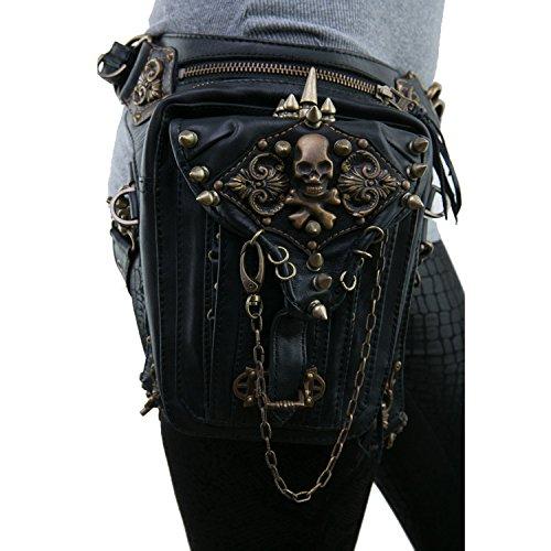 5a72ba1a6b36 Vintage Steam Punk Rock Retro Gothic Skull Waist Pack Shoulder Bag Wallet  for Men Women