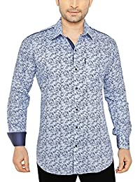 GlobalRang Men's Floral Blue Printed Casual Shirt