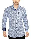 Global Rang Men's Floral Blue Printed Casual Shirt (M)
