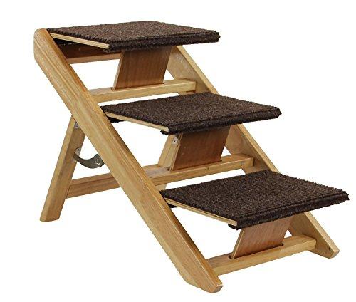SwissPet Hundetreppe Hunderampe klappbar Senti   3-Stufige Treppe für Hunde, aus Holz 60x34x40cm Tiertreppe