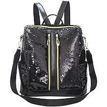 Luckycat Mujeres Lentejuelas Mochila Señoras Mochila Impermeable PU escolares Anti-robo Dayback Shoulder Bags Ocio