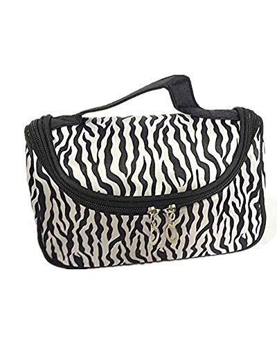 Neue Zebra (SAMGU neue Zebra-Streifen Faltbare Lady Make-up kosmetische Container Beutel Handtaschen Halter Tasche)