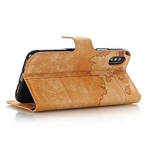 Retro Farbe Druckmuster Premium PU Leder Brieftasche Case Cover mit Card Slots und Kickstand für iPhone X ( Color : Purple ) Brown