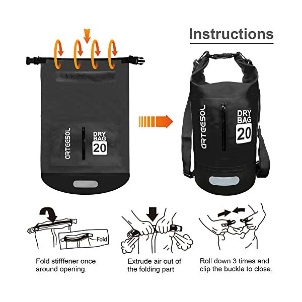 Blackace Dry Bag, 5L 10L 20L 30L WaterProof Dry Bag/Sack Waterproof Bag with Long Adjustable Strap for Kayaking Boat Tour Canoe/Fishing/Rafting/Swimming/Snowboarding 4