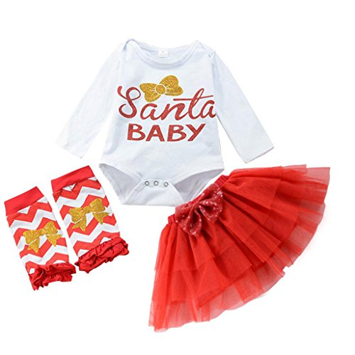 �dchen Bekleidungssets Rock & Tops Sets Longra Kleidung Set Santa Strampler + Tutu Rock + Stirnband Outfits Weihnachten Baby Strampler-Set (80CM 12Monate, White) (Günstige Santa-outfits)