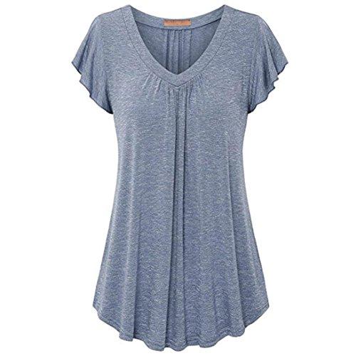 SEWORLD Damen Sommer Mode Solide Übergröße Plissee Kurzarm V-Ausschnitt Bluse Top Tunika Bluse Shirt (M, Blau) (Plissee V-ausschnitt Jumper)