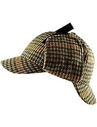 Unisex Deerstalker Sherlock Holmes Detective Tweed Herringbone Tartan Wool Hat Cap
