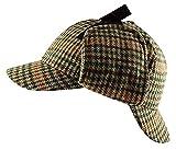 Unisexe Chapka Sherlock Détective Holmes style tweed motif chevrons tartan laine casquette chapeau - S/M (56cm), Beige Tartan