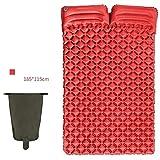 WYZXR Materasso Gonfiabile per Tenda Ultraleggero per Campeggio con Cuscino per 2 Persone all'aperto Protettiva, Rosso