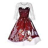 MIRRAY Damen Cocktailkleid Brautkleid Frau Weihnachten Spitze Santa Xmas Print Party Flare Abend Langarm Sexy Kleid