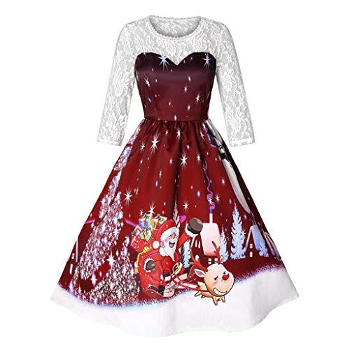 SEWORLD 2018 Elegante Damen Frauen Frohe Weihnachten Vintage Weihnachtsmann Print Spitze Abendgesellschaft Kleid ()