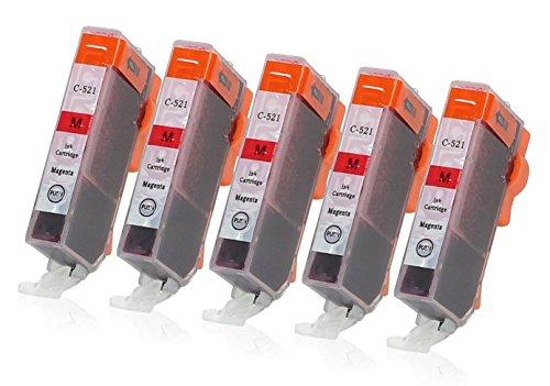 Preisvergleich Produktbild 5 Druckerpatronen mit Chip und Füllstandsanzeige kompatibel zu Canon CLI-521 (Magenta) für Canon Pixma IP-3600 IP-4600 IP-4700 MP-540 MP-550 MP-560 MP-620 MP-630 MP-640 MP-980 MP-990 MX-860 MX-870